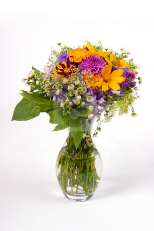Bouquet stock photo, Bunch of various flowers on the white background by Gennady Kravetsky