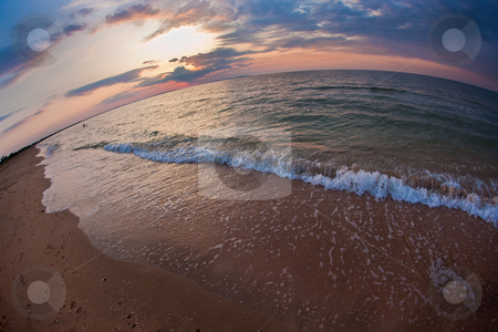 Summer sea stock photo, Nature series: summer sea coastline in fisheye view by Gennady Kravetsky