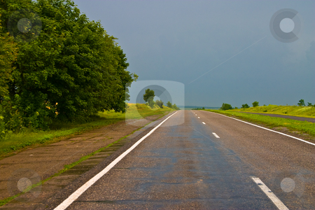 Thunderstorm stock photo, Nature series: summer thunder strom highway road by Gennady Kravetsky