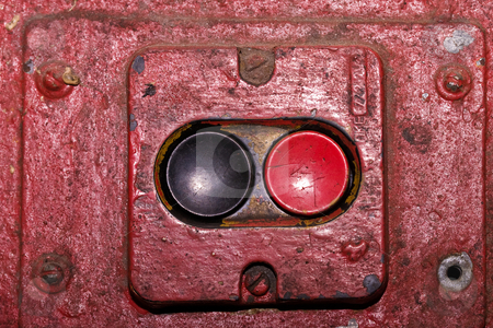 Start and stop stock photo, Macro picture of two buttons, red and black by Gennady Kravetsky