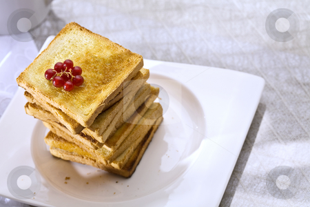 Toast stock photo, Food series: toasts and rer currant on the white plate by Gennady Kravetsky