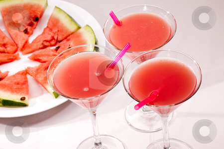 Water-melon stock photo, Food series: some glasses with water melon cocktail by Gennady Kravetsky