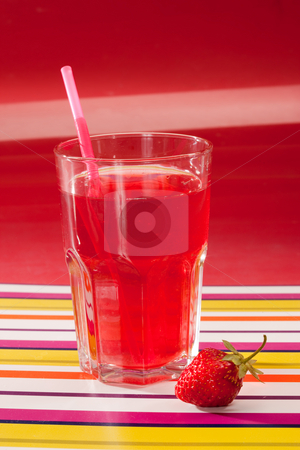 Strawberry beverage stock photo, Drink series: glass of strawberry juice with berry by Gennady Kravetsky