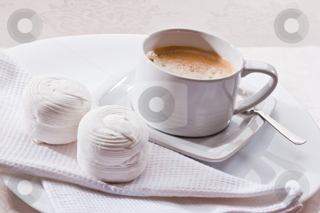 Coffee stock photo, Food series: cup of coffee and marsh mallow by Gennady Kravetsky