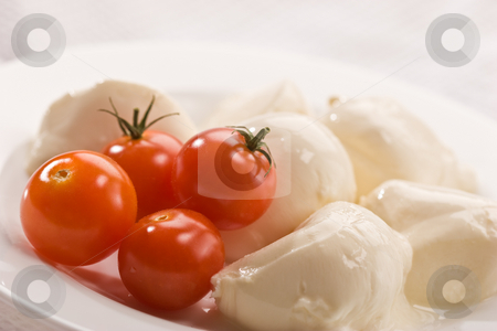 Mozzarella stock photo, Food series: mozzarella (soft cheese) and tomato by Gennady Kravetsky