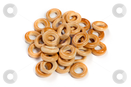 BAGEL  stock photo, Food series: ring bagel on the white background by Gennady Kravetsky