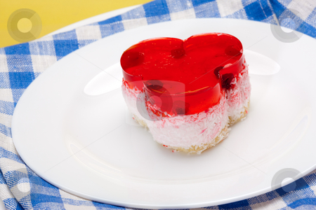 Fancy cake with cherry stock photo, Food serie: sweet fancy cake with cranberry jelly by Gennady Kravetsky
