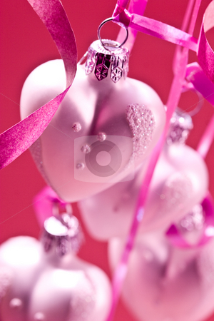 Christmas heart stock photo, Holiday series: some  christmas heart-shaped ball over pink background by Gennady Kravetsky