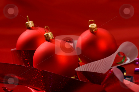 Red christmas ball stock photo, Holiday series: close up of red christmas ball by Gennady Kravetsky