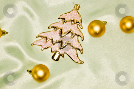 Christmas decoration stock photo, Holiday series:  Christmas decorated  golden ball and fir by Gennady Kravetsky