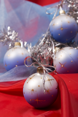 Christmas decoration stock photo, Holiday series: silver Christmas garland and decorated ball by Gennady Kravetsky