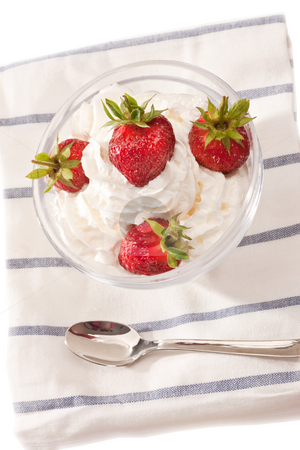 Strawberry dish stock photo, Food series: strawberry with whipped cream in glassy bowl by Gennady Kravetsky