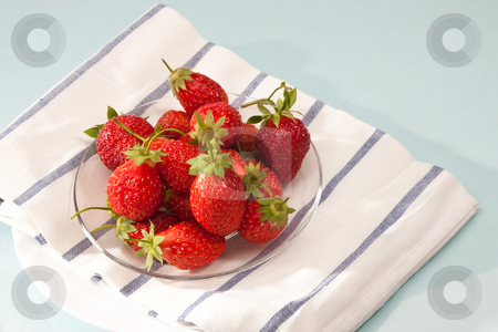 Strawberry  stock photo, Food series: red strawberry on the glassy plate by Gennady Kravetsky