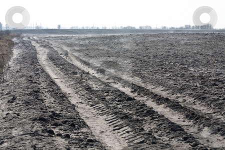 Plough land stock photo, Agriculture theme: fish eye view of plough land by Gennady Kravetsky