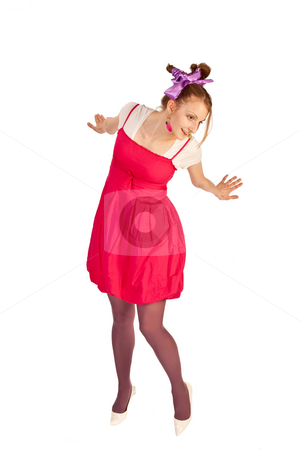 Dance stock photo, People series:  young funny girl in crimson dress by Gennady Kravetsky