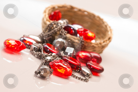 Bijouterie stock photo, Object series: accessories, beads and red heart by Gennady Kravetsky