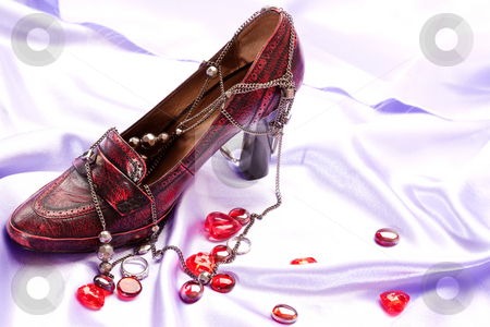 Shoes and beads stock photo, Fashion series: red woman`s shoes and beads by Gennady Kravetsky