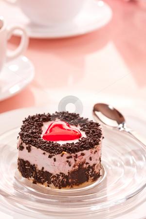 Sponge-cake stock photo, Food series: sweet fancy cake, heart decorated by Gennady Kravetsky