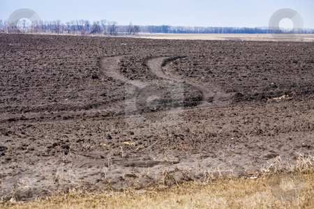 Plough land stock photo, Agriculture theme:  view of plough land with tractor track by Gennady Kravetsky