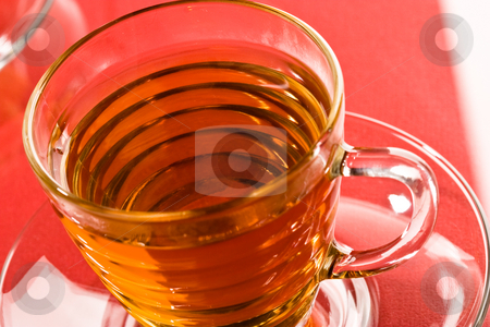 Tea stock photo, Drink series: cup of hot tea and spoon by Gennady Kravetsky