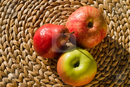 Apple and pear stock photo, Food series: macro picture of two apple and pear by Gennady Kravetsky