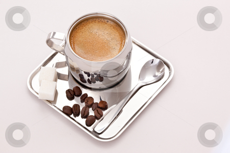 COFFEE stock photo, Drink series: metal cup of coffee with sugar by Gennady Kravetsky