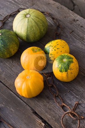 Pumpkin stock photo, Still life with pumpkin on a old wooden table by Gennady Kravetsky
