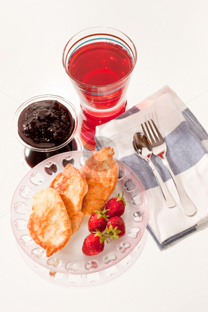 Light morning meal stock photo, Food series: pancakes with strawberries and jam by Gennady Kravetsky
