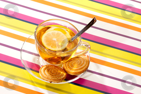 Tea stock photo, Drink series: cup of tea with lemon by Gennady Kravetsky
