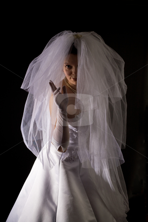 Marriageable girl stock photo, Young women in the veil and white dress by Gennady Kravetsky