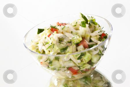 Salad stock photo, Food series: full glassy bowl of vegetable salad by Gennady Kravetsky