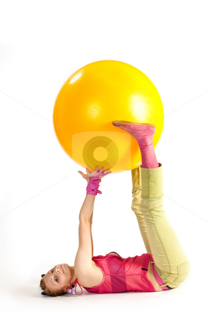 Physical training stock photo, People series:  young girl do exercises with ball by Gennady Kravetsky