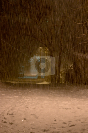 City snowfall stock photo, Nature series: winter snowfall in the city by Gennady Kravetsky