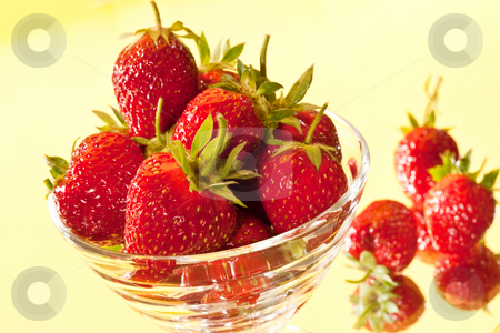 Strawberry  stock photo, Food series: ripe strawberrys in the glassy bowl by Gennady Kravetsky