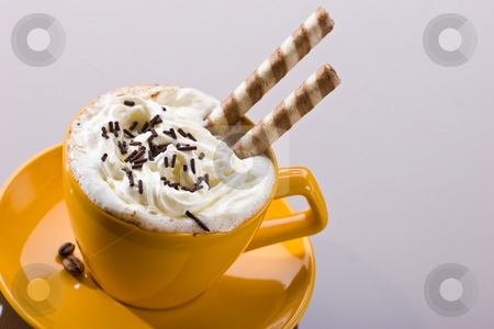 Sweet coffee stock photo, Drink series: cup of coffee with cream by Gennady Kravetsky