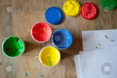 Paint stock photo, Object series: multicolored paints for kinder creation by Gennady Kravetsky