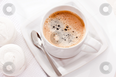 Coffee stock photo, Drink series: white cup of coffee with sweets by Gennady Kravetsky
