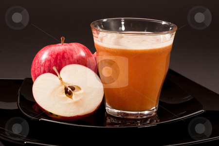 Apple juice stock photo, Food series: fresh juice and red apple by Gennady Kravetsky
