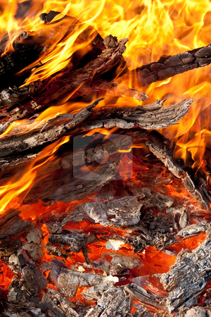 Fire stock photo, Fire series: burning flame and firewood by Gennady Kravetsky