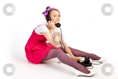 Hallo stock photo, People series: young girl in bright clothes speak on phone by Gennady Kravetsky