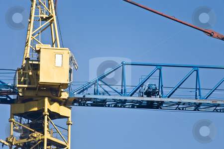 Cabine of a crane stock photo, Industrial series: cabine of a crane and gibbet by Gennady Kravetsky