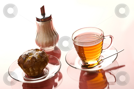 Tea stock photo, Drink series: cup of hot tea and cake by Gennady Kravetsky