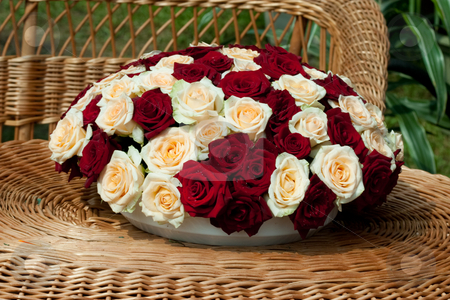 Bunch of flowers stock photo, Flower series: bunch of red and white roses. romantic mood by Gennady Kravetsky