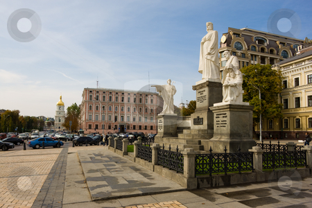 Kiev stock photo, Monument of grand duchess Olga, Saint apostle Andrey Pervozvanny, Kirill and Methodius by Gennady Kravetsky