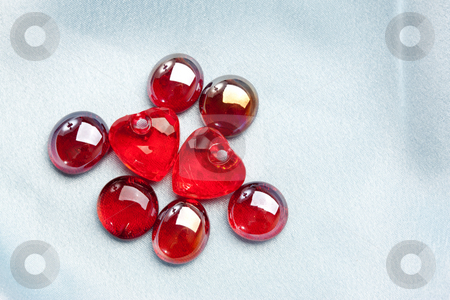 Valentine decoration stock photo, Red glassy decoration and heart for valentine day by Gennady Kravetsky