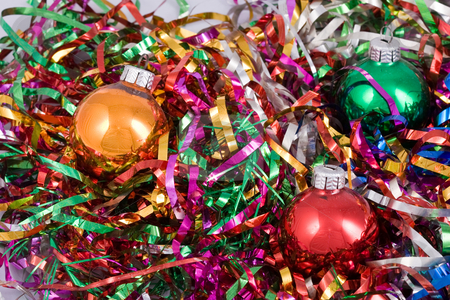 Christmas balls stock photo, Holiday series: christmas still life with colored balls by Gennady Kravetsky