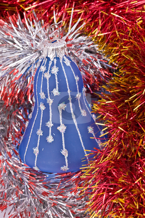 Christmas balls stock photo, Holiday series: christmas decorated bell in the red garland by Gennady Kravetsky