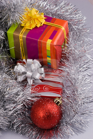 Christmas decoration stock photo, Holiday series: Christmas decoration with ball, garland and gift by Gennady Kravetsky