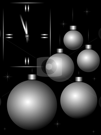 Christmas balls stock photo, Christmas decorations in the form of balls and the wall clock on a black background by Alina Starchenko