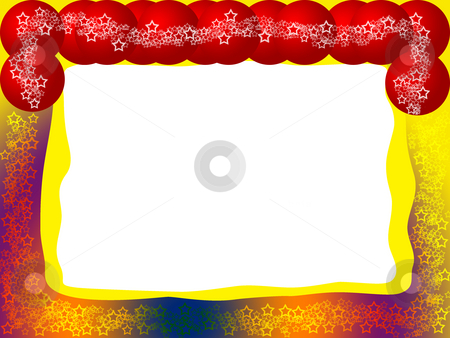 Bright Festive Frame stock photo, Bright Decorative Festive Colorful Frame with Red Balls, Lacy Stars and Blank White Background by Skovoroda